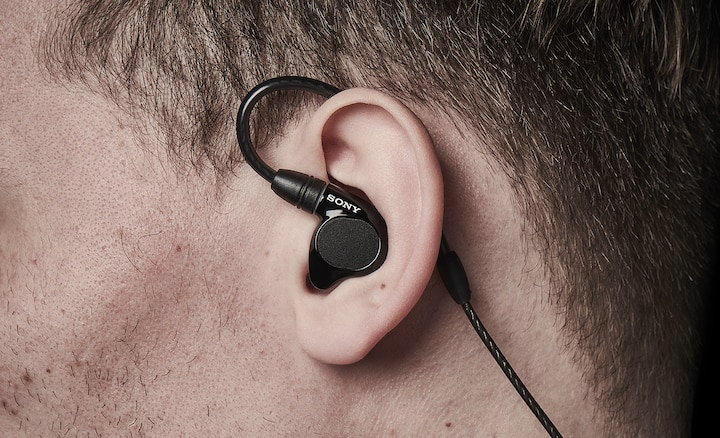 Close up of the IER-M7 snug fit in someone's ear