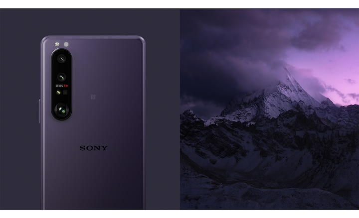 Xperia 1 III in Frosted purple next to a purple moutain scene