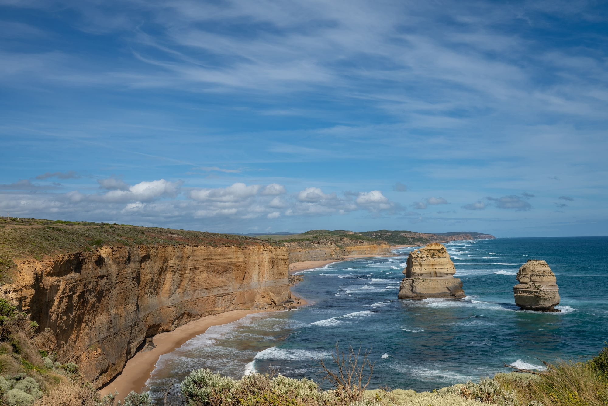 Blue skies with creek eyeline at the Twelve Apostles
