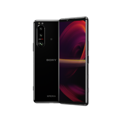 Xperia 5 III in black, front and rear views