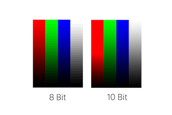 two images showing four colours- 8 bit and 10 bit - indicating less banding on 10 bit