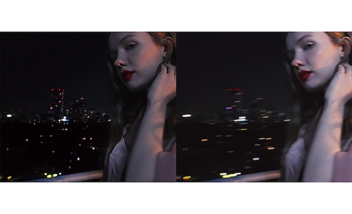 Split screen image of a woman on a roof at night, one clear, one blurry