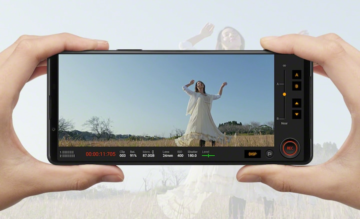 Xperia 1 III being used to film a woman outdoors in slow-motion in 4K HDR 120fps