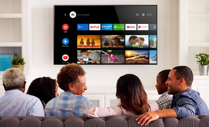 Family searching through entertainment on Android TV
