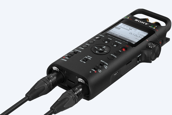 Two audio inputs connected to the portable audio recorder's twin XLR/TRS combo jacks