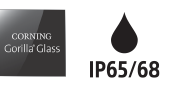 Corning Gorilla Glass logo and IP65/68 logo