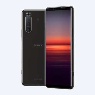 Xperia 5 II in black, front and back