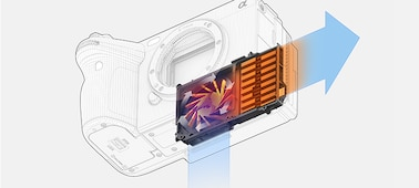Image of the airflow for the cooling in the camera body
