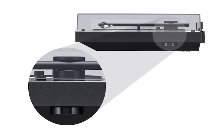 Side view of the BLUETOOTH vinyl record player, with a detail view of the 45rpm adaptor disk